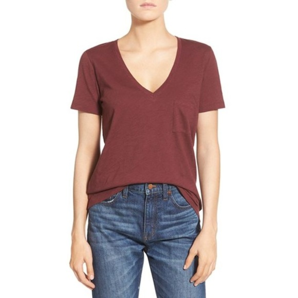 72e11a2f6c6bd0 Madewell Tops - Madewell Rust Red Whisper Cotton V-Neck Pocket Tee